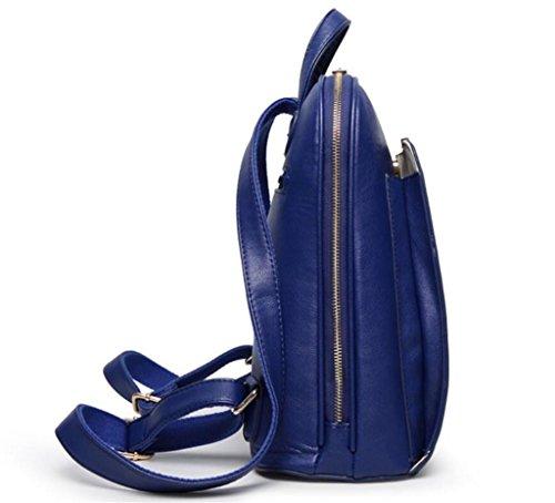 Great Strange Damen-Doppel-Umhängetasche Student Schultasche PU Freizeit Shopping Reise Mädchen Vier Farben 28 * 12 5 * 32cm , black blue