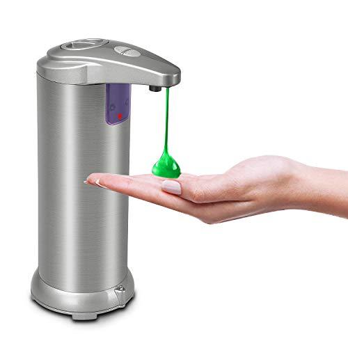 Getue Dispenser Sapone Automatico,Dispenser Sapone Touchless con Sensore a Infrarossi,Dispenser Sapone Liquido Automatico,Dispenser Sapone Bagno in Acciaio Inox (Argento, 300ml)
