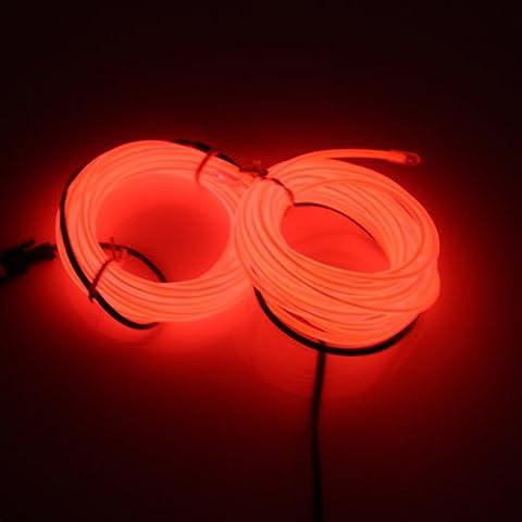 Lerway 5M Bunte Luminous EL Wire Elektrolumineszenzdraht EL Neon Kabel LED-Licht Glowing Beleuchtung Flexible Lampe für Schlafzimmer-Dekoration Home Kitchen Garden, Kaffee Restaurant, Party Bar Club (rote)