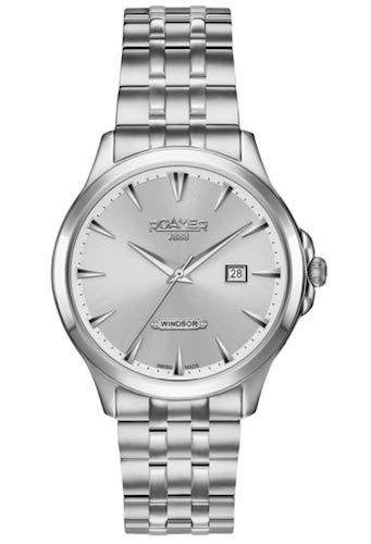 Roamer Windsor Hommes de montre à quartz avec cadran argenté, affichage analogique et bracelet en acier inoxydable Argenté 705856410570