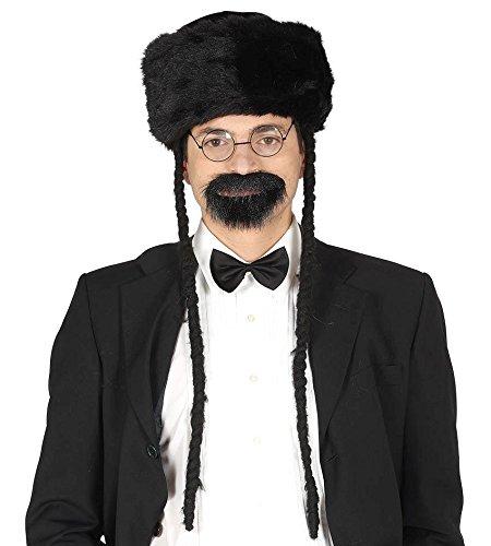 MÜTZE - RABBI - schwarz mit (Halloween Kostüme Rabbi)
