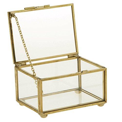 Sharplace Geometrisches Glasterrarium Rechteck Form - Kupfer, 10 x 7 x 6 cm