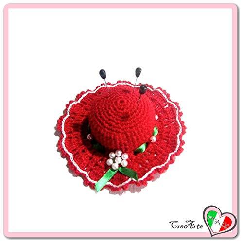 Rotes Häkeln Hut Nadelkissen mit grünem Band aus Baumwolle - Größe: ø 11.5 cm - Handmade - ITALY