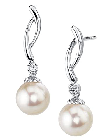 8mm White Freshwater Cultured Pearl & Diamond Madison Earrings in 14K Gold