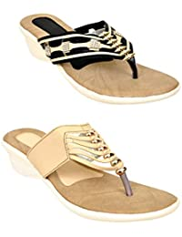 Altek Golden And Black Colored Resin Wedges For Women (Pack Of 2) (15208_2_13207_13208)