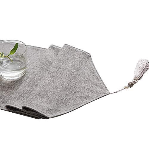 WYQ Baumwolle Sackleinen grau Tischläufer mit Quasten, Vintage Design Dekor ideal für Familienessen, Versammlungen, Partys, alltäglichen Gebrauch 6 Größen erhältlich Table Runner
