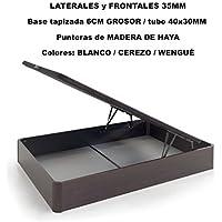 Canapé de madera con BASE TAPIZADA, laterales de 35 MM, punteras de MADERA DE HAYA, gran capacidad, medida 150x190CM, color wengué.