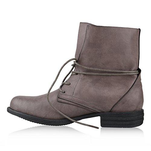 Damen Stiefeletten Worker Boots Leder-Optik Schnürstiefeletten Stiefel Camouflage Booties Blockabsatz Spitze Gr. 36 - 42 Flandell Grau Schwarz