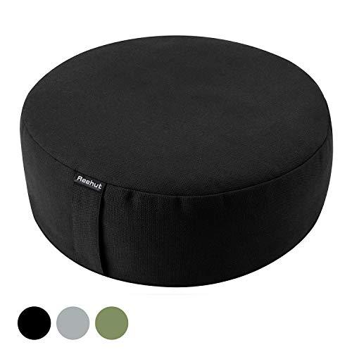 REEHUT Yogakissen Meditationskissen Rund, Yoga Sitzkissen Durchmesser 33cm/Höhe 11,5 cm aus Baumwolle und…