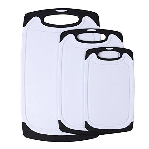 Oliv Marmor (candora® 3-teilig sicheres Kunststoff Schneiden Board Set mit rutschfesten Schneidebretter und tief Drip Saftrille Küche Carving Boards leicht zu reinigen schwarz)