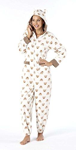 Luxury donna in tessuto felpato con cappuccio pigiama tutina Micro Teddybaer modello e orecchie Crème