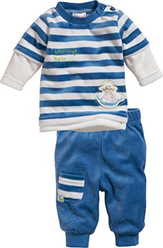 Schnizler Unisex Baby Jogginganzug Nicki Blockstreifen, 2-Teilig Langarmshirt und Hose, Oeko-Tex Standard 100, Blau (Blau 7), 62