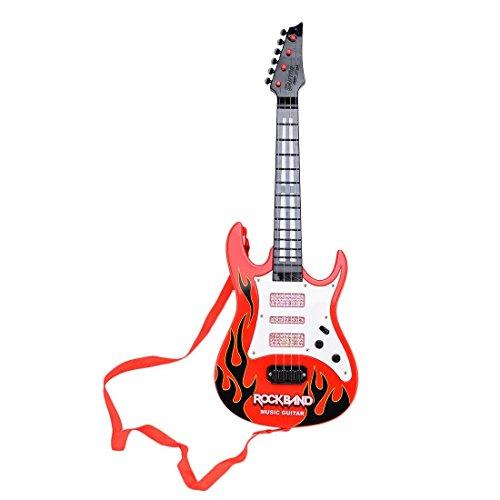 Preisvergleich Produktbild Finer Shop Rock Band Music e-Gitarre 4 Streicher Kinder Musikinstrumente Pädagogisches Spielzeug - Rot Flame