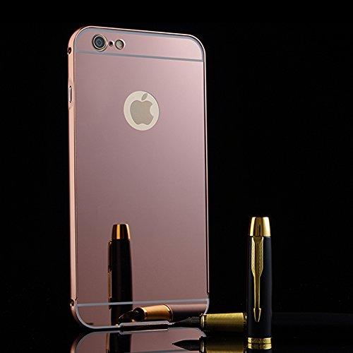 iPhone 6/iPhone 6S 4.7 Specchio Cover,BtDuck Ultra Sottile Placcatura in alluminio Metallo di lusso Moda Specchio Riflessione Bling Antiurto Custodia Cover per iPhone 6/iPhone 6S 4.7 Trucco Specchio G Rosa Oro