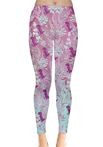 Unbekannt CowCow Damen Leggings, Dinosaurier-Motiv, niedliche Drucke, XS-5XL Gr. 48, pink floral -