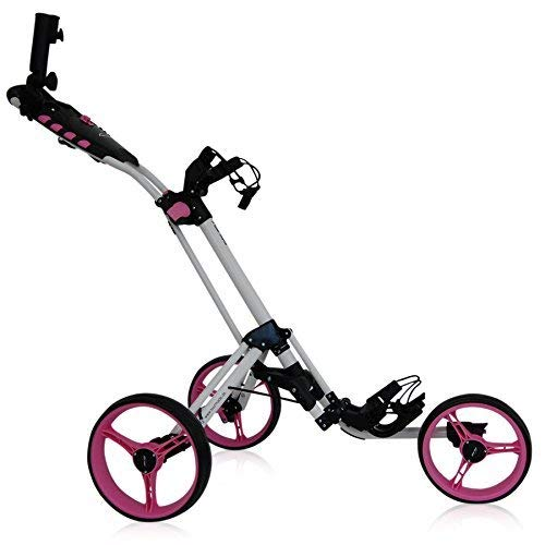 tour-made RT-140 3-Rad Golf Push Trolley Pushtrolley Golftrolley 3-Rad (Weiss-pink)