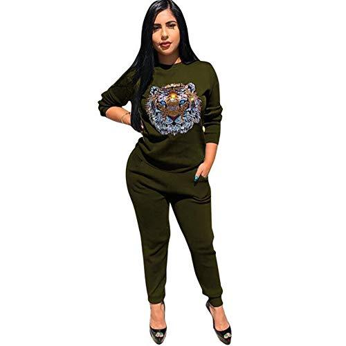 MNLXL Einfarbiger Beiläufiger Rundhalsausschnitt Der Frauen Trägt Heißen Heißen Tigerkopfanzug Zur Schau,Green,L (Crewneck Pullover Wool Green)