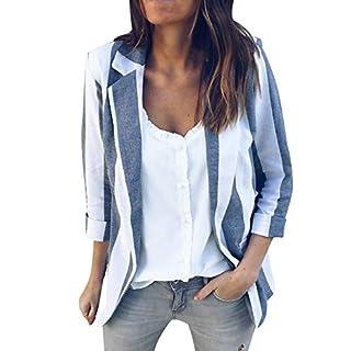 Briskorry Damen Jacke Retro Blazer Gestreifte Jacke Elegante Strickjacke Mantel Frau Shirt Langarm Outwear Tunika Herbst Winter Vintage Pullover Windjacke