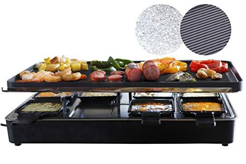 Milliard Raclette Grill Tischgrill Partygrill für 8 Personen, mit wendbarer Grillplatte Granitplatte, 8 Antihaftbeschichtet Grillfläche Pfännchen und Holzspatel (EU-Model)