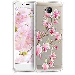 kwmobile Funda para bq Aquaris V - Carcasa de [TPU] para móvil y diseño de Magnolias en [Rosa Claro/Blanco/Transparente]