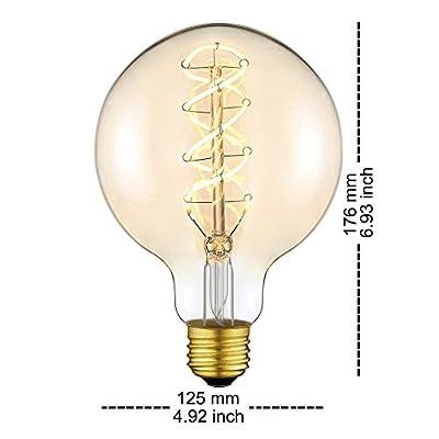 Globus Vintage Edison Glühbirne Groß LED Lampe Birne G125(φ125mm)X mit E27 Sockel Flexibel Filament Dimmbar Warmweiß (2200 Kelvin) 160 Lumen Ersetzt 25 Watt Bernstein [Energieklasse A++] (G125-2 Pack) von Yunte auf Lampenhans.de