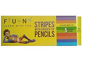 Fun Stripes With Erasers Tip Pencils (Pack of 10) 50 pencils