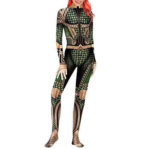 Kostüm Mann Green - QQWE Aquaman Cosplay Kostüm Justice League Kostüm Kleidung Frauen Männer Weihnachten Halloween Show Superheld Body Overalls,Green-M