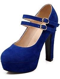Zapatos con Tacón Alto para Mujer Plataforma Tobillo Correa Tacones Sexy  Gamuza Impermeable Calzado de Vestir 18cd37952226