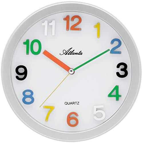 Atlanta - Quarzuhr - Kinder-Wanduhr - ABS (Kunststoff) -Gehäuse silberfarben - schleichende Sekunde
