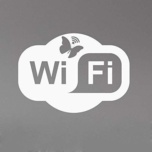 SLQUIET Wifi Logo Sticker Amovible Vinyle Fenêtre Autocollant Papillon Logo Art Déco Salle Familiale Café Calcul Club Famille Et Jardin Sticker Mural 31 violet 20x14 cm