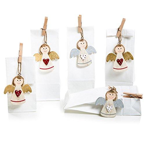10 Stück kleine Geschenk-Verpackung ENGEL rot gold silber weiß + 10 Papiertüten Bodenbeutel weiß Geschenke verpacken Weihnachten Geburtstag Kommunion Taufe Mitgebsel Gastgeschenk give-away