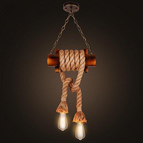 BJVB Ciondolo in legno rustico canapa corda a sospensione Lampade Downlight soffitto (2 lampadine