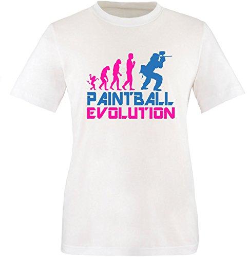 EZYshirt® Paintball Evolution Herren Rundhals T-Shirt Weiss/Pink/Blau