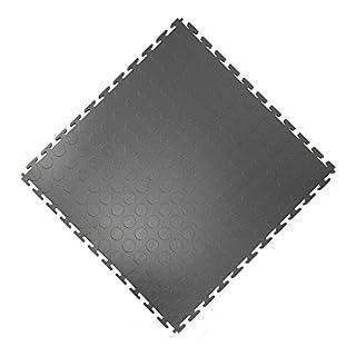 Vario24 PVC Bodenfliese 2,5 m² (10 Fliesen), extrem belastbar, Bodenbelag, Garagenboden, Industrieboden, nicht die Light Version (Noppen-dunkelgrau)