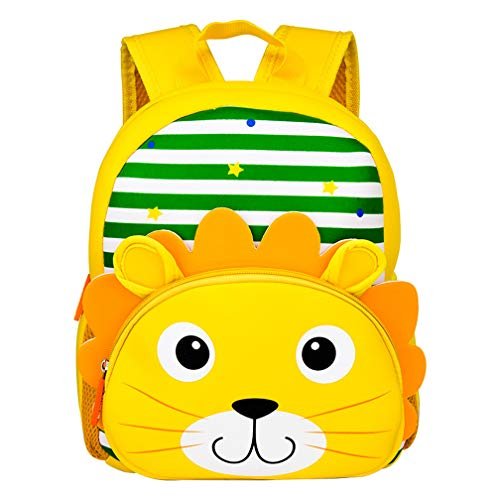Yeelan impermeabile bambini zaino sacchetto di scuola materna bambini zaino scuola per bambini daypack per la scuola materna scuola materna viaggi ecc. (leone, neoprene)