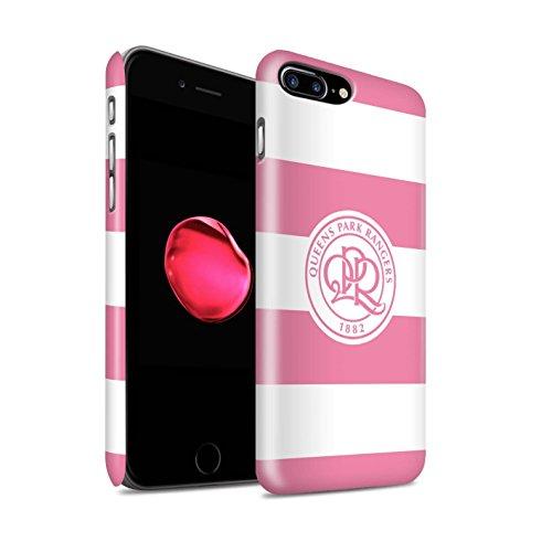 Offiziell Queens Park Rangers FC Hülle / Matte Snap-On Case für Apple iPhone 7 Plus / Hoops/Marineblau Muster / QPR Fußball Crest Kollektion Hoops/Weich Rosa