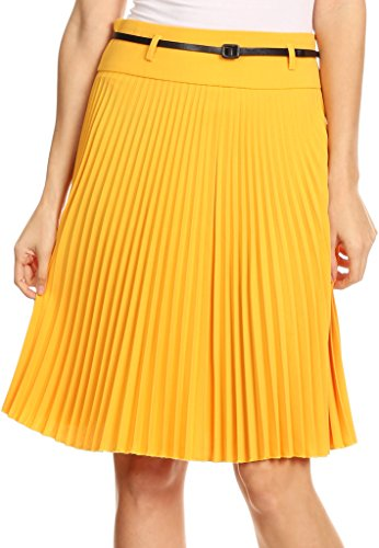 sakkas-fv3543-knee-length-pleated-a-line-skirt-with-skinny-belt-mustard-large