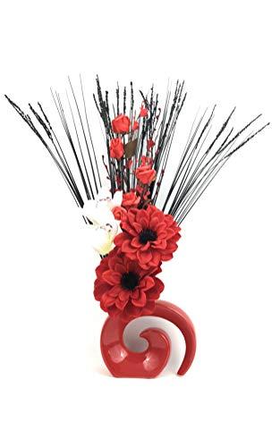Künstliche Seide Red Dahlia, cremefarben Blumen, rote Rosen, Gras in rot Fossil Vase (Vase Rot In Seiden-blumen)