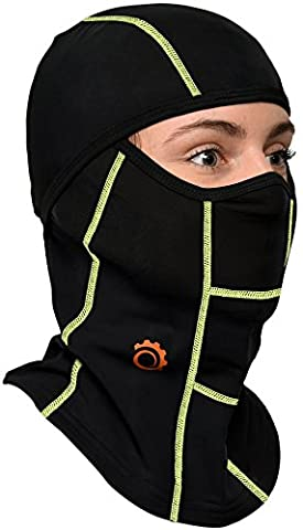 Tactical Balaclava Motorcycle Face Mask + FREE Gift!- Premium Wind Dust Protection Biking Mask - For Women and Men (Black/Green) (Black/Green)