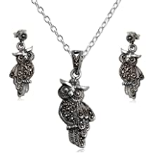 EYS JEWELRY® juego de joyas para señora lechuza 29 x 13 mm Marcasita plata de ley 925 gris con la caja collar pendientes mujer