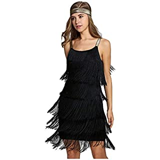 keland Femmes Glands Bretelles Robe Gatsby Cocktail Party Costume Flapper Frangé Robe avec Bandeau (Noir, M)