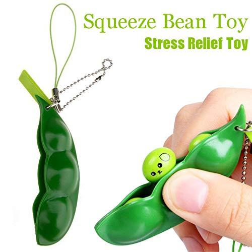 Cooljun Kawaii Weiche knautschige Schlüsselanhänger Anti-Stress Perlen Spielzeug für Kinder & Erwachsene für Erwachsene und Kinder (Grün)