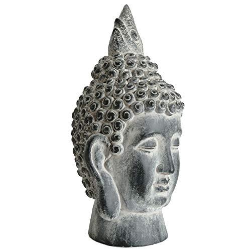 SVITA Buddha XL Buddhakopf Stein-Kopf Figur Asien Statue Skulptur 53 cm groß Feng Shui Stein-Optik grau