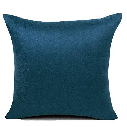 "BIGU Cushion Covers Plain Suede Solid Square Pillow Covers Home Decoration Sofa Car Waist Throw Pillow Case 24""x24"" 60X60CM Dark Blue"