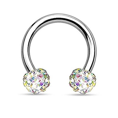 1 x 1.2MM X 8MM Aurora Borealis Kristall verkrustete Ferido Disco Ball Effekt Tragus, Knorpel oder Nase Septum Hufeisen Piercing