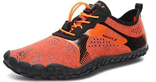 Herren Damen Outdoor Fitnessschuhe Barfußschuhe Trekking Schuhe Badeschuhe Schnell Trocknend Rutschfest(Grau Schwarz,43 EU)