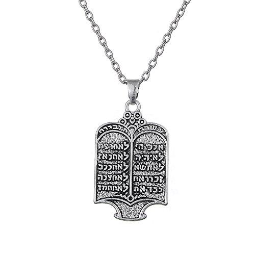 """Fishhook Halskette mit Thora-Anhänger, """"10 Gebote"""", Gliederkette, ethnischer Schmuck"""