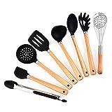 Küchenutensilien Sets 8 Stück Silikon Küchenutensilien Antihaft-Utensilien Set Kochwerkzeug - Silikon & Holzgriff Kit-Für Töpfe & Pfannen