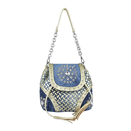OBC Only-Beautiful-Couture , Borsa Messenger  blu blu/grigio ca.: 39x28x18 cm (BxHxT) Blau-Gold
