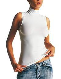 SENSI  Canottiera Donna Lupetto Senza Manica Microfibra Traspirante Senza  Cuciture Seamless Made in Italy 1e9c9e8756c6